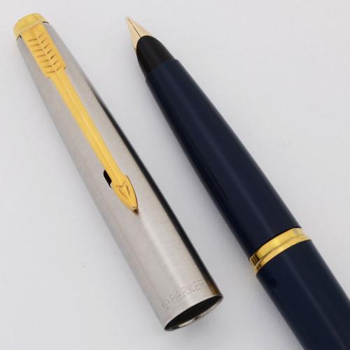 Parker 45 Fountain Pen (UK-1997) - Blue, Flighter Cap, GT, 10k Medium Nib (Excellent, Works Well)