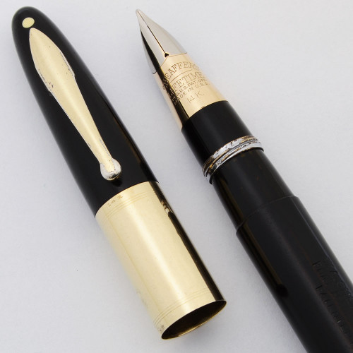 Sheaffer Lifetime Signature Triumph - Black Striated, Wide 14k Cap Band, Fine, Vac-Fil (Excellent in Box, Restored)