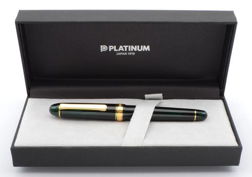 Platinum 3776 Century Fountain Pen - Laurel Green w Gold Trim, C/C,  14k Soft Fine Nib (Near Mint in Box, Works Well)