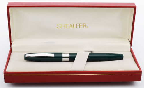 Sheaffer Triumph Imperial (1990s) Fountain Pen - Green w Chrome Trim, Medium Steel Nib (New Old Stock in Box)