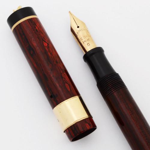 Diamond Medal Ringtop Fountain Pen (1920s) - Woodgrain, Lever Filler,  Medium #5 Nib (Very Nice, Restored)