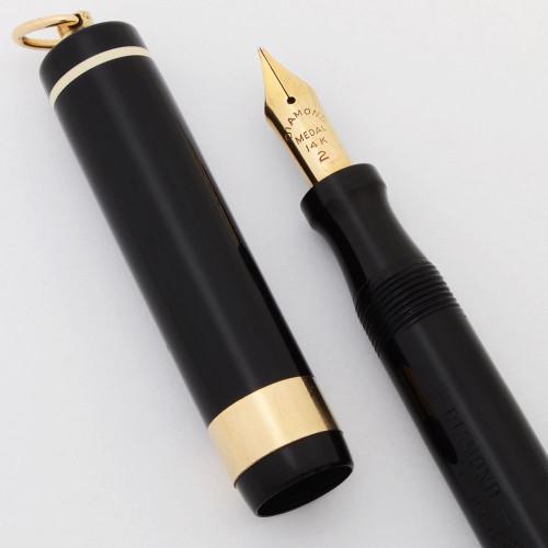 Diamond Medal Ringtop Fountain Pen (1920-30s) - Black, Lever Filler, Medium #2 Nib (Excellent, Restored)