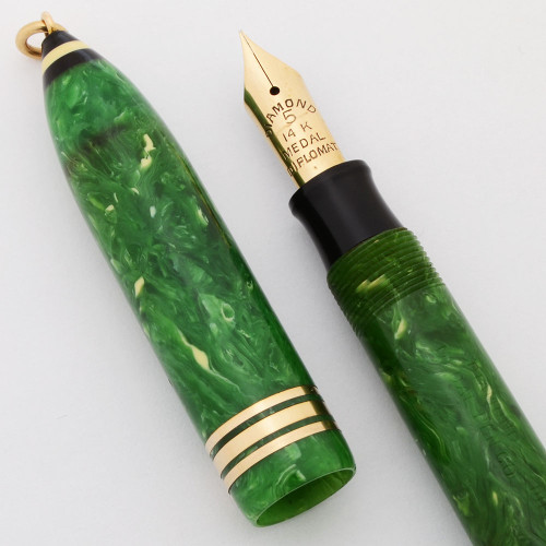 Diamond Medal Diplomat Ringtop Fountain Pen (1920-30s) - Jade Green, Fine #5 Nib (Excellent, Restored)