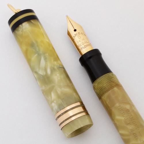 Diamond Medal Diplomat Ringtop Fountain Pen (1920-30s) - Ivory Marble, Medium #5 Nib (Excellent +, Restored)