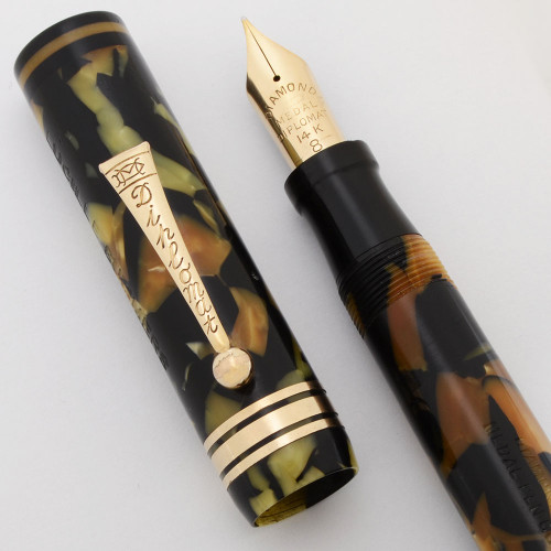 Diamond Medal Diplomat Fountain Pen (1930s) - Oversized, Black and Pearl, 14k #8 Fine Firm Nib (Excellent, Restored)