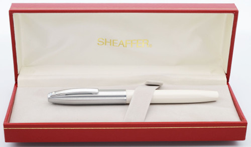 Sheaffer Triumph Imperial  Fountain Pen (1990s) - White w Chrome Trim, Medium Steel Nib (New Old Stock in Box)