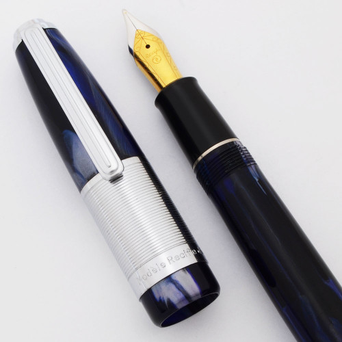 Recife Press Fountain Pen Over-Sized - Blue Marble, C/C, Medium Steel Nib (Excellent, Works Well)