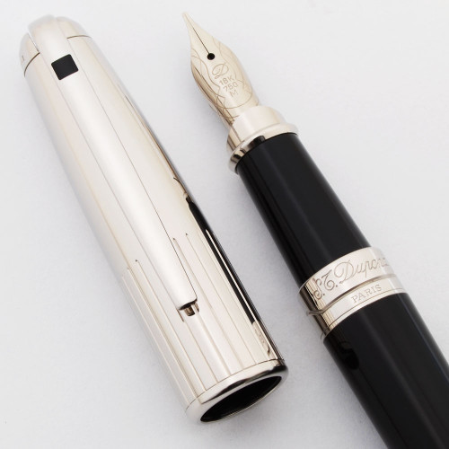 ST Dupont Olympio Fountain Pen - Large/Standard, Black Lacquer, Palladium Trim, 18k Medium Nib (Mint, Works Well)