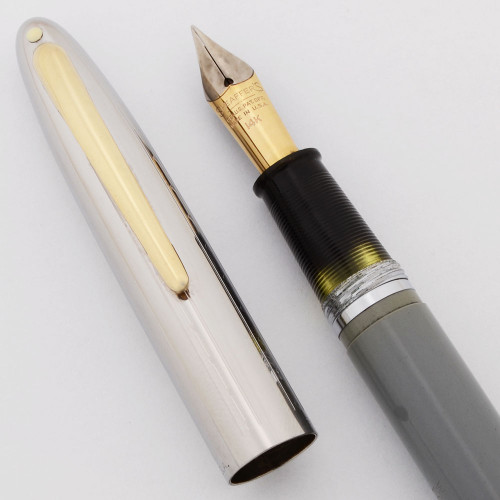 Sheaffer Sovereign Touchdown (Late) - Grey w/Chrome Cap, 14k Fine Two-Tone Nib (Excellent +, Restored)