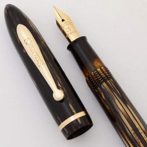 Sheaffer Balance Fountain Pen (1930s) - Brown Striated,  Junior Size, Lever Fill,  Fine #3 Nib (Excellent +, Restored)