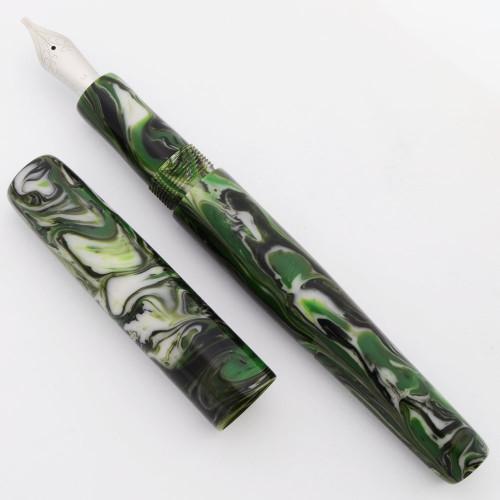 PSPW Prototype Fountain Pen - Green Cruzite, No Clip, JoWo #6 Nibs