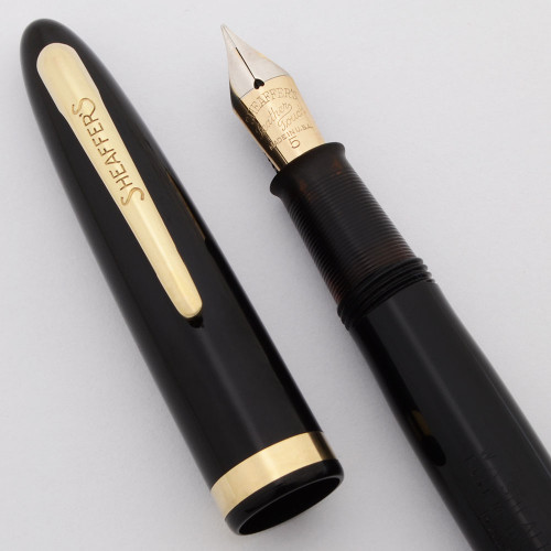 Sheaffer Admiral Fountain Pen (1948) - Black w/GT, Touchdown, Fine 14k Feather Touch #5 Nib (Excellent +, Restored)