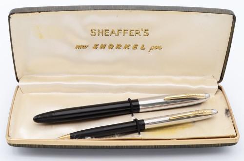 Sheaffer Sovereign Fountain Pen Set - Snorkel, Black, Fine 14k Open Nib (Excellent in Box, Restored)