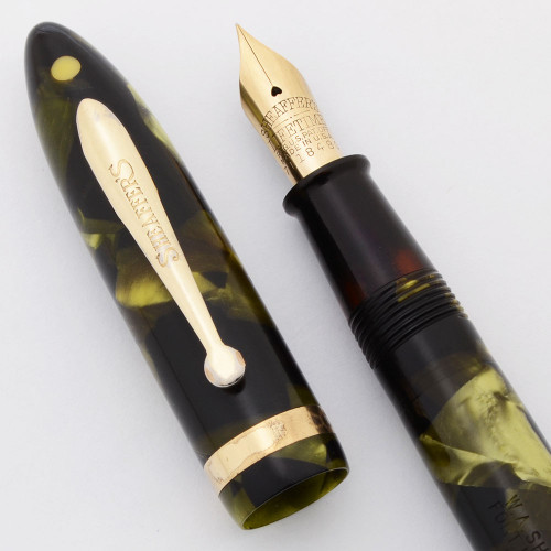 Sheaffer Balance Lifetime Junior (1930s-40s) - Small Size, Green Marble, Lever Filler, Extra Fine Lifetime Nib (Excellent, Restored)