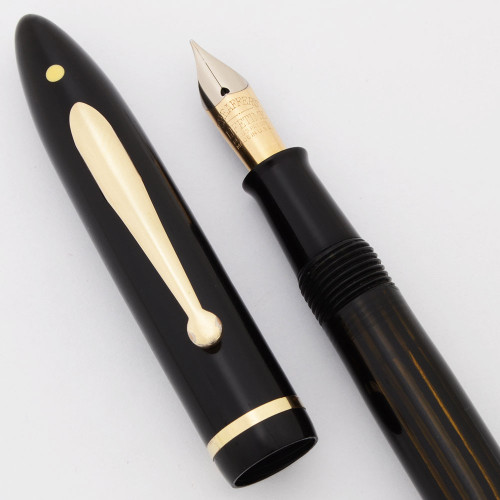 Sheaffer Balance Lifetime Fountain Pen - Slender Full Length, Vac-Fil, Black, Fine 14k Nib (Excellent, Restored)