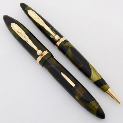 Sheaffer Balance  3-25 Fountain Pen and Pencil Set (1930s) - Small Size, Green Marble, Fine Nib (Excellent, Restored)