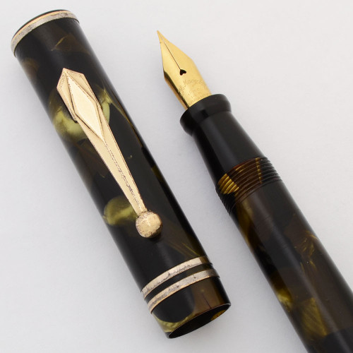 R H Macy and Company Fountain Pen (1930s) - Green Marble, Lever Filler, 14k Fine Flexible Warranted Nib (Very Nice, Restored)