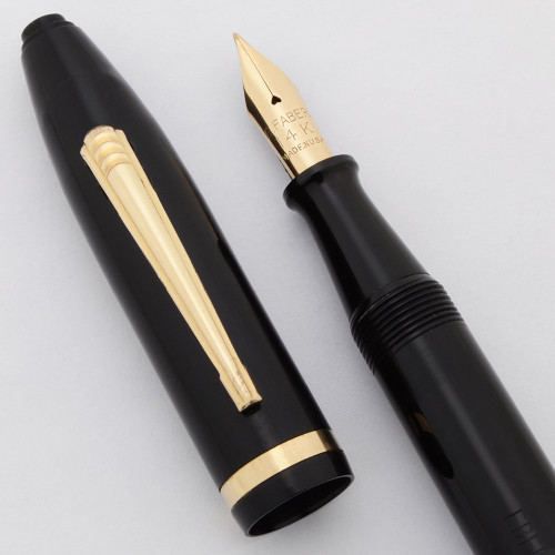 Eberhard-Faber 3001 Fountain Pen (1940s) - Black w/GP Trim, Lever Filler, Flexible Fine 14k Nib (Excellent, Works Well)