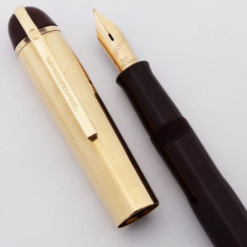 Eversharp Skyline Fountain Pen (1940s) - Gold Lined Cap, Burgundy Barrel,  Lever Filler, Flexible Fine (Excellent +, Restored)