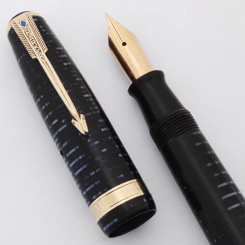 Parker Vacumatic Major Fountain Pen (1945) - Blue Pearl, 14k Fine Nib (Excellent, Restored)