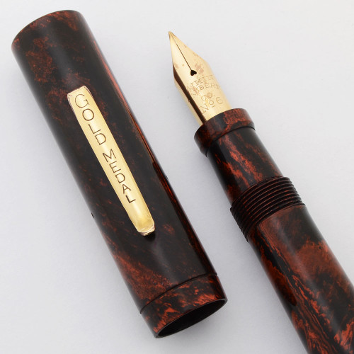 Gold Medal Fountain Pen  (1930s/40s) - Red Mottled Hard Rubber, Lever Filler,  Aikin Lambert #6 Flexible Nib (Superior, Restored)