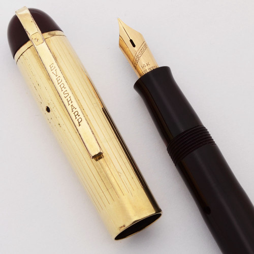 Eversharp Skyline Demi Fountain Pen (1940's) - Burgundy w Gold Cap,  Lever Filler, Manifold Fine 14k Nib (Very Nice, Restored)