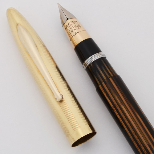 Sheaffer Lifetime Crest Fountain Pen -  Early Version (1940s), Brown Striated, Vac-Fil, Fine Triumph Nib (Excellent, Restored)