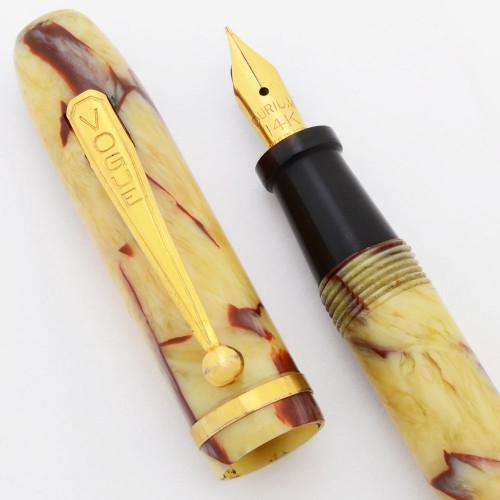Vogue (Walgreen) Combo Fountain Pen/Mechanical Pencil - Ivory w/Red Veins, Lever Filler,  Fine Durium GP Nib (Excellent, Restored)