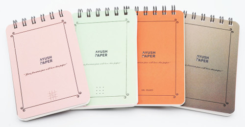 Ayush Paper Pocket Notebooks - Top Spiral, Dot/Grid/Lined/Plain, 50 Pages