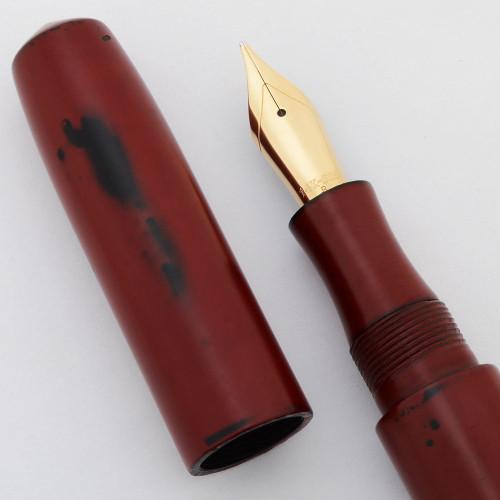Edison Pearl Fountain Pen -  Negoro-Nuri Urushi, Broad 14k Nib (Excellent in Box, Works Well)