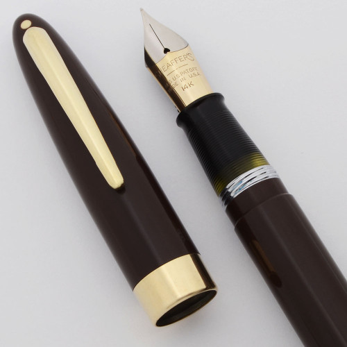 Sheaffer Sovereign II Fountain Pen (1947-8) - Brown w/GT,  Vac-Fil, Fine 14k Open Nib (Excellent +, Restored)
