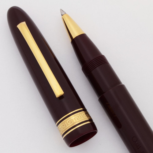 Omas Ogiva Oversize Rollerball Pen (1980s) - Burgundy w Gold Trim (Excellent + in Box, Works Well)