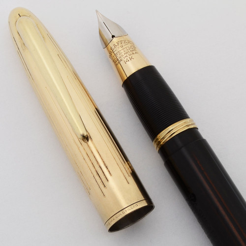 Sheaffer Crest  Deluxe 1500 Fountain Pen -  Black/Brown Striated, Vac-Fil, Fine 14k Triumph Nib (Excellent, Restored)