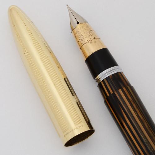 Sheaffer Tuckaway Crest Fountain Pen (1940-1) - Brown Striated w Gold Cap, Vac-Fil, Fine 14k Triumph Nib (Excellent, Restored)