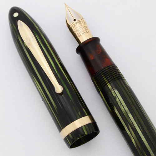 "Sheaffer Balance Lifetime Oversized ""Premier"" (1930s) - Green Striated, Lever Fill, 14k Extra Fine Lifetime Nib (Very Nice, Restored)"