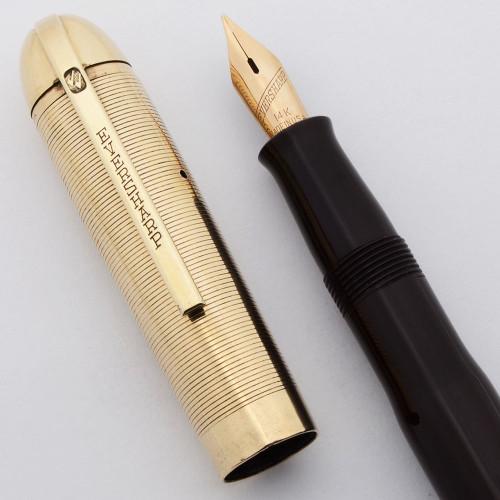 Eversharp Skyline Demi Fountain Pen - Dubonnet Red w GF Grooved Cap, 14k Flexible Medium Nib (Excellent, Restored)