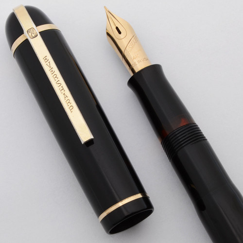 Eversharp Skyline Fountain Pen - Black w Gold Trim, Manifold Fine 14k Nib (Excellent, Restored)