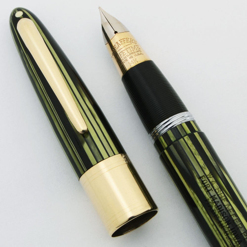 Sheaffer Triumph Valiant Fountain Pen - Fat Version Wide Cap Band, Green Striated, Vac Fil, Fine 14k Nib (Excellent, Restored)