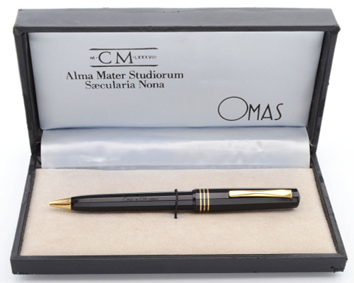 Omas Alma Mater Studiorum Saecularia Nona Ballpoint (1988) - Black Faceted with Gold Trim (Very Nice in Box, Works Well)