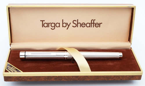 Sheaffer Targa 1010 Fountain Pen (1980s) - Silver Electroplated Checks, Medium 14k Nib (Near Mint in Box, Works Well)