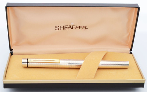 Sheaffer Targa 1006x Fountain Pen (1980s) - Sterling Silver Grid, Gold Trim, Extra Fine 14k Nib (New Old Stock in Box)