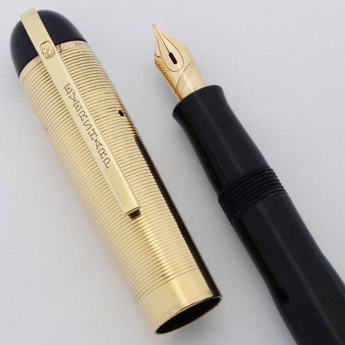 Eversharp Skyline Demi Fountain Pen (1940's) - Blue w Gold Cap, Medium Manifold 14k Nib (Excellent, Restored)