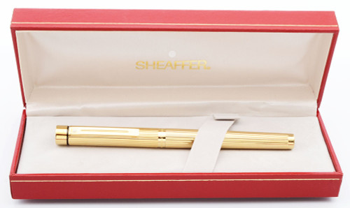 Sheaffer Targa 1005 Fountain Pen - Gold Fluted, Extra-Fine 14k Nib (Mint in Box, Works Well)