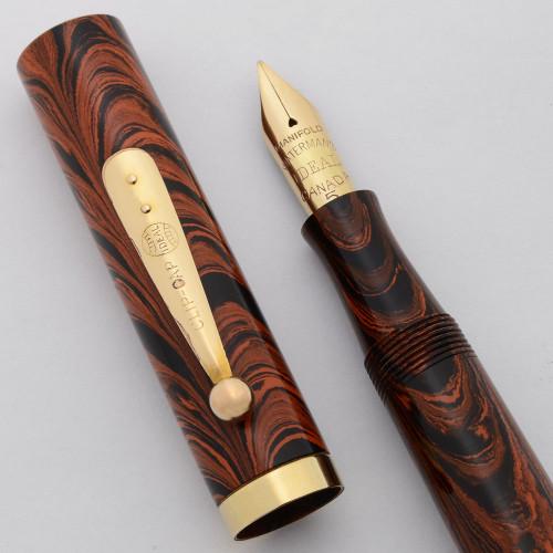 Waterman 55 Fountain Pen (Canada, 1920s) - Red Ripple Hard Rubber, GF Trim, Manifold Medium Canada #5 Nib (Excellent, Restored)