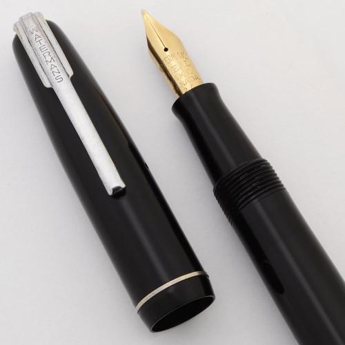 Waterman Starlet Fountain Pen (Canada, 1940s) - Black, Silver Trim, Fine Semi-Flex Nib (Excellent, Restored)
