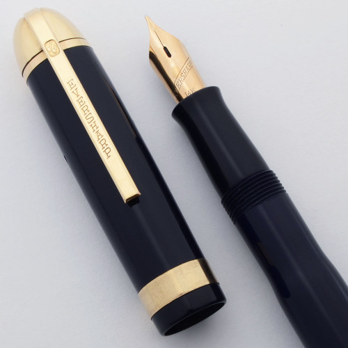 Eversharp Skyline Fountain Pen - Blue, Gold Derby and Wide Cap Band, 14k Medium Manifold Nib (Excellent, Restored)