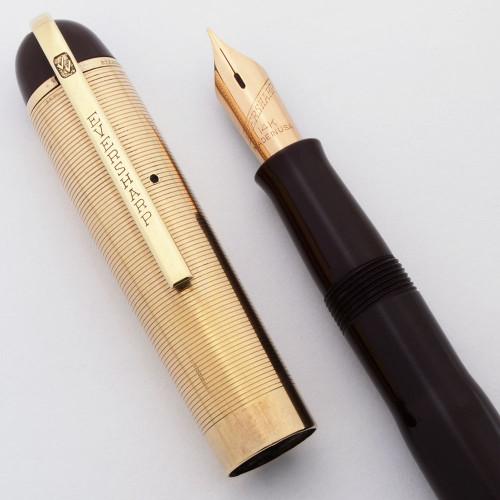 Eversharp Skyline Fountain Pen - Burgundy, Gold Cap, 14k Manifold Fine Nib (Excellent, Restored)