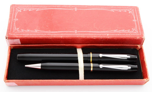 Waterman Skywriter Canada Fountain Pen and Pencil Set (1930s/40s) - Black,  Medium 14k Flexible Nib (Excellent in Box, Restored)