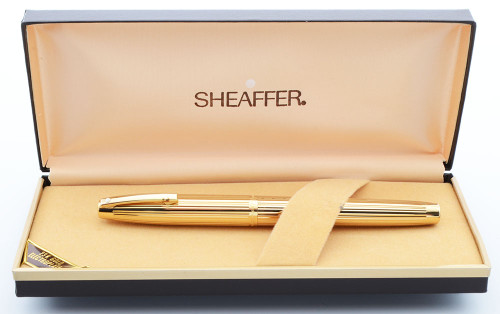 Sheaffer Imperial 797 Fountain Pen (1970s) - 23k Gold Plated Fluted, Fine Gold Plated Nib (Excellent in Box, Works Well)
