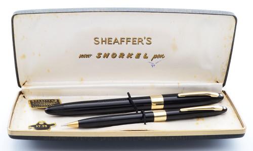 Sheaffer Statesman Snorkel Set  (1950s) - Black w/Gold Trim, Fine F4 Nib (Excellent + in Box, Restored)